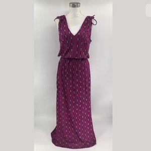 Lucky Brand Dress SZ M V Neck Sleeveless Maxi D10